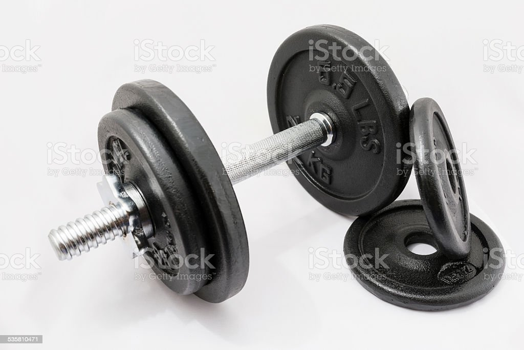 itness exercise equipment dumbbell weights on white background stock photo