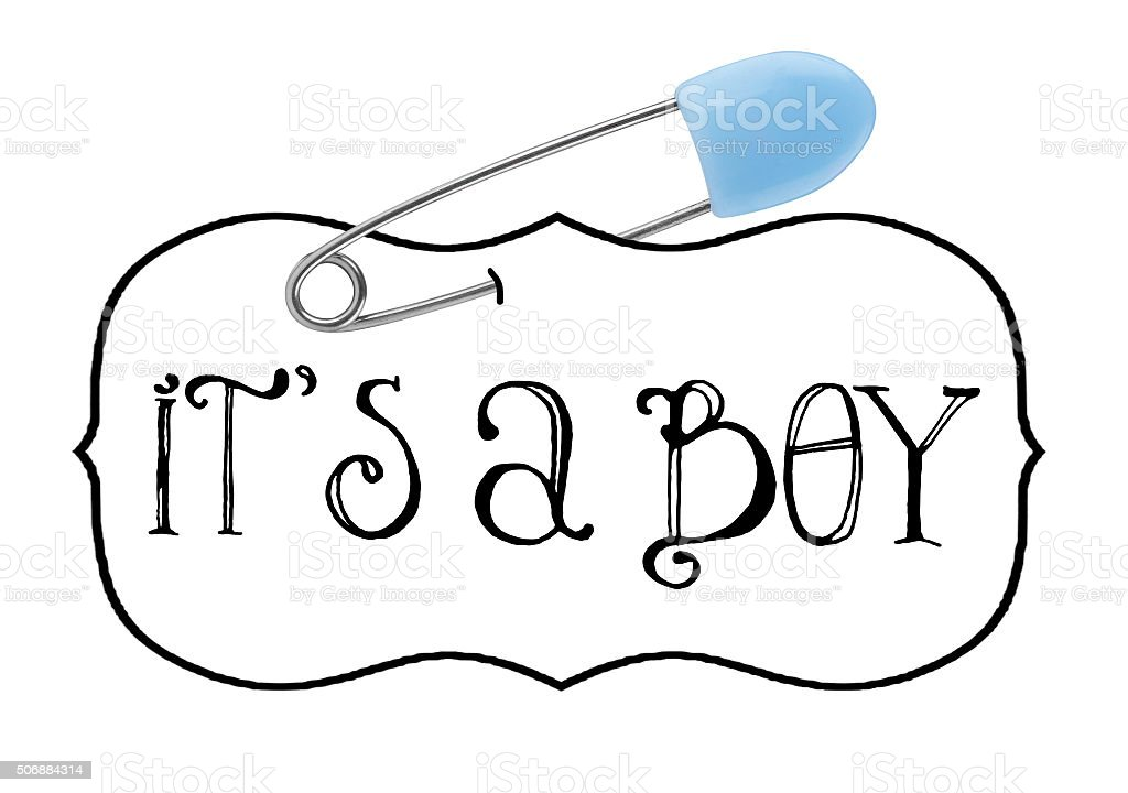 It's a Boy Baby announcement safety pin stock photo