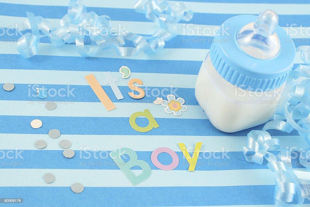 it's a  boy milk bottle stock photo