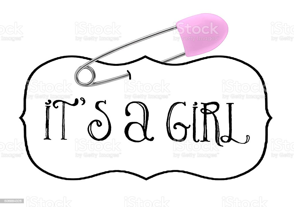 It's a Girl Baby announcement safety pin stock photo