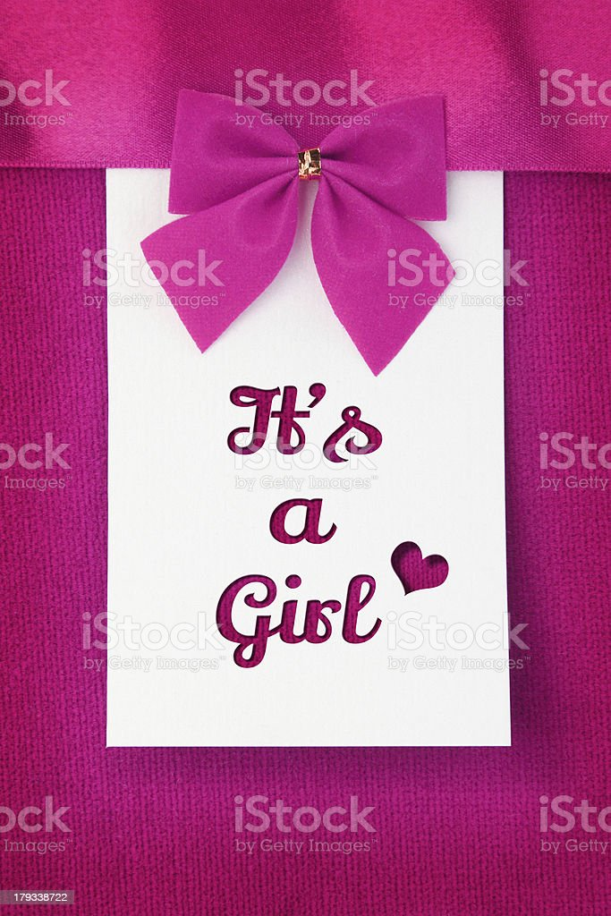 It's a Girl, baby arrival announcement stock photo