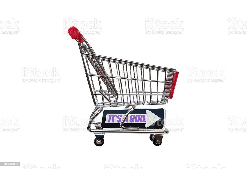 It's a Girl one way arrow shopping cart stock photo