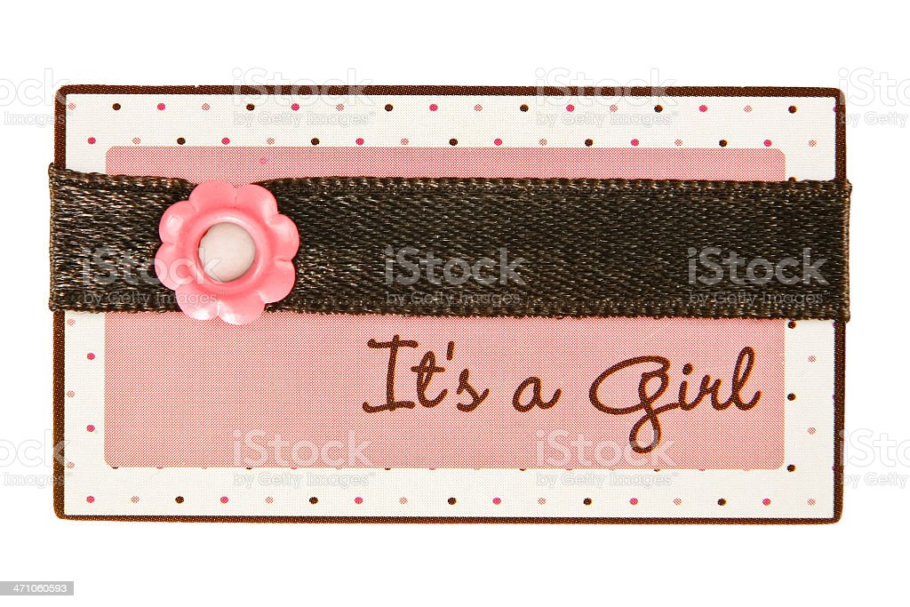 'it's a girl' scrapbook tag royalty-free stock photo