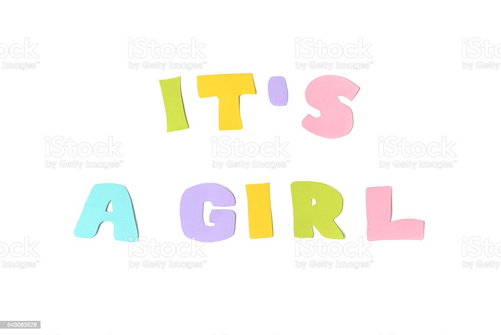 It's a girl text on white background stock photo