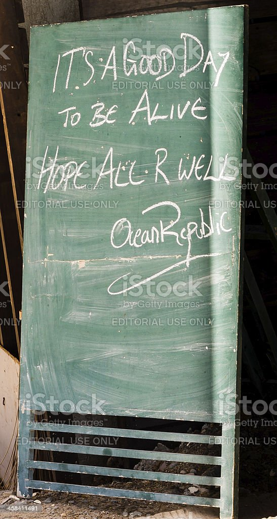 'It's a good day to be alive' sign following Haiyan stock photo