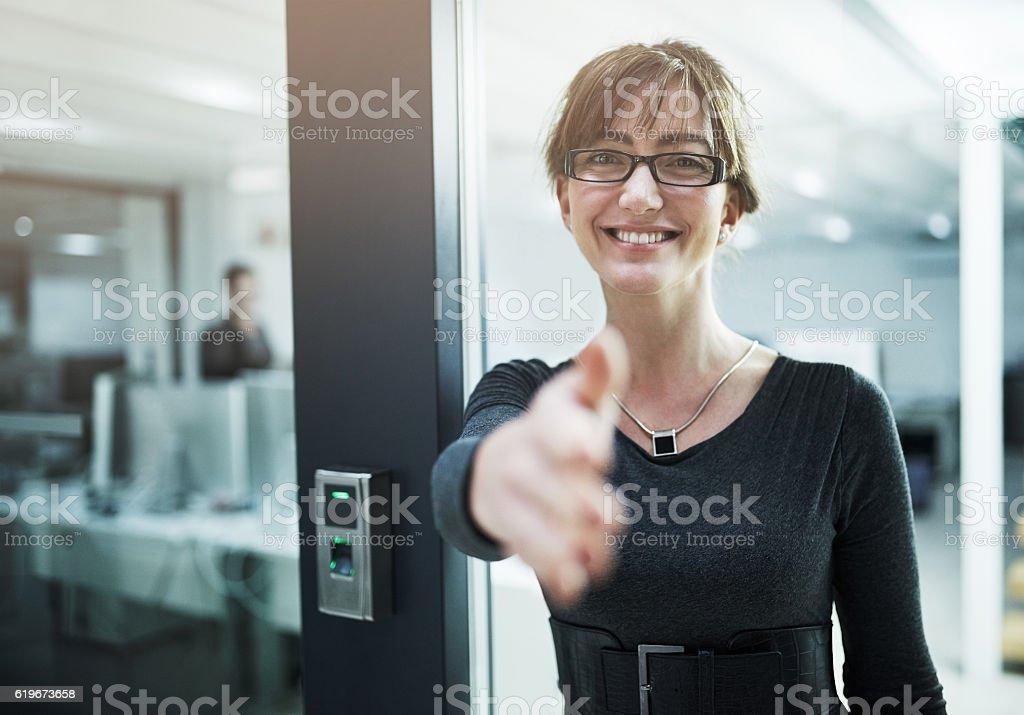 It's a pleasure to finally meet you stock photo