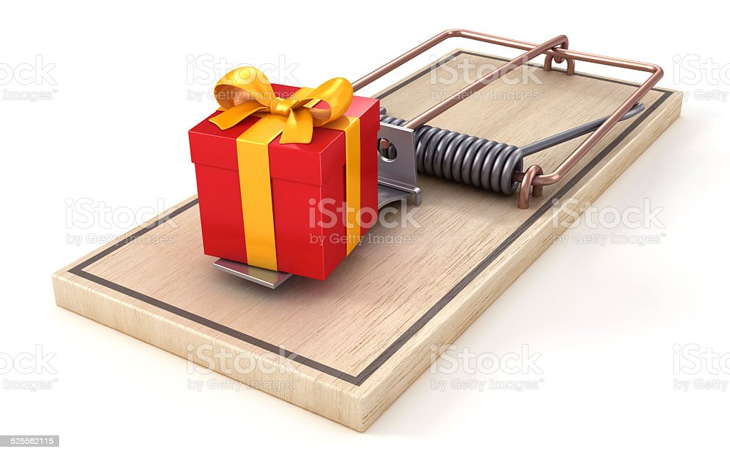 It's a trap! Mousetrap with gift box as a bait. stock photo
