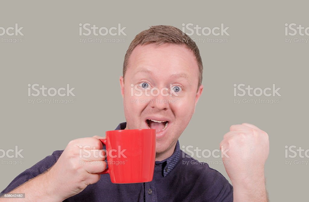 It's a win with a hot drink stock photo