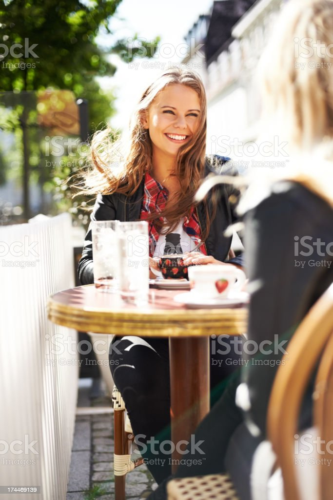 It's been ages, it's so nice catching up! stock photo
