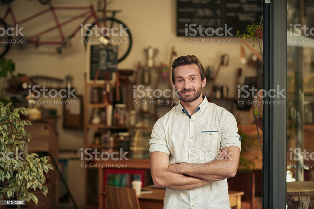It's coffee o'clock, step right in! stock photo