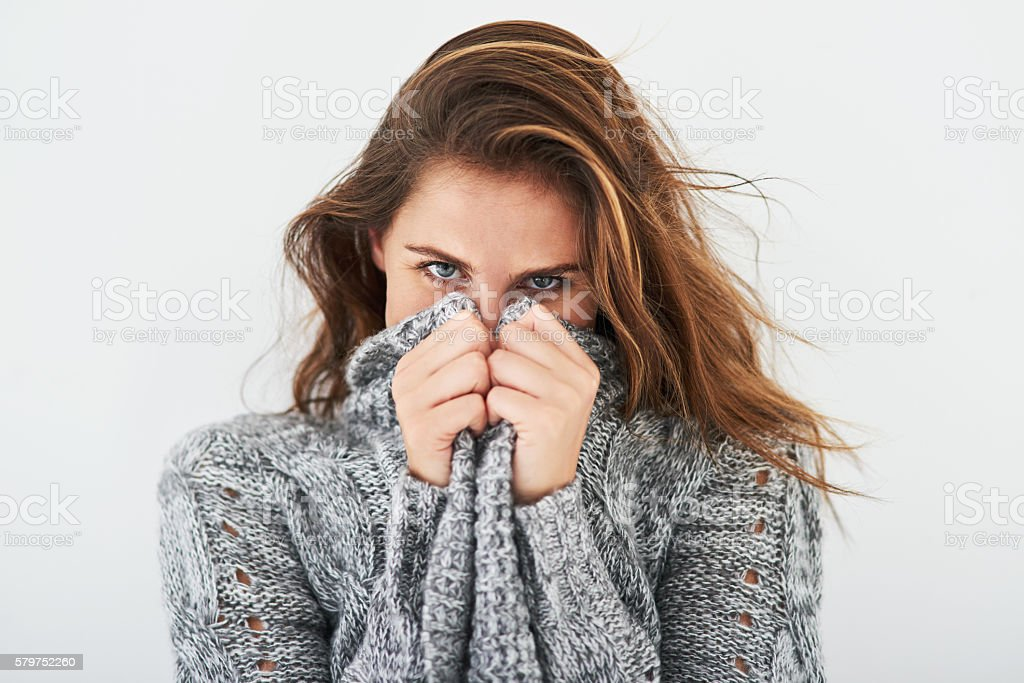 It's cozy sweater weather again stock photo