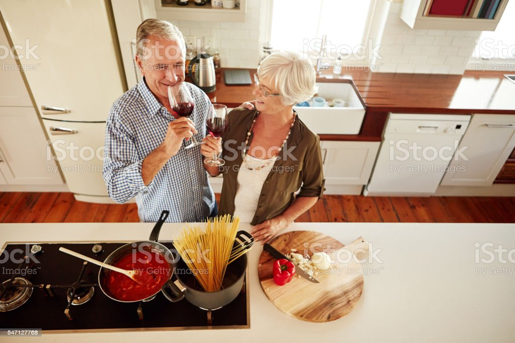 It's date night in the kitchen stock photo