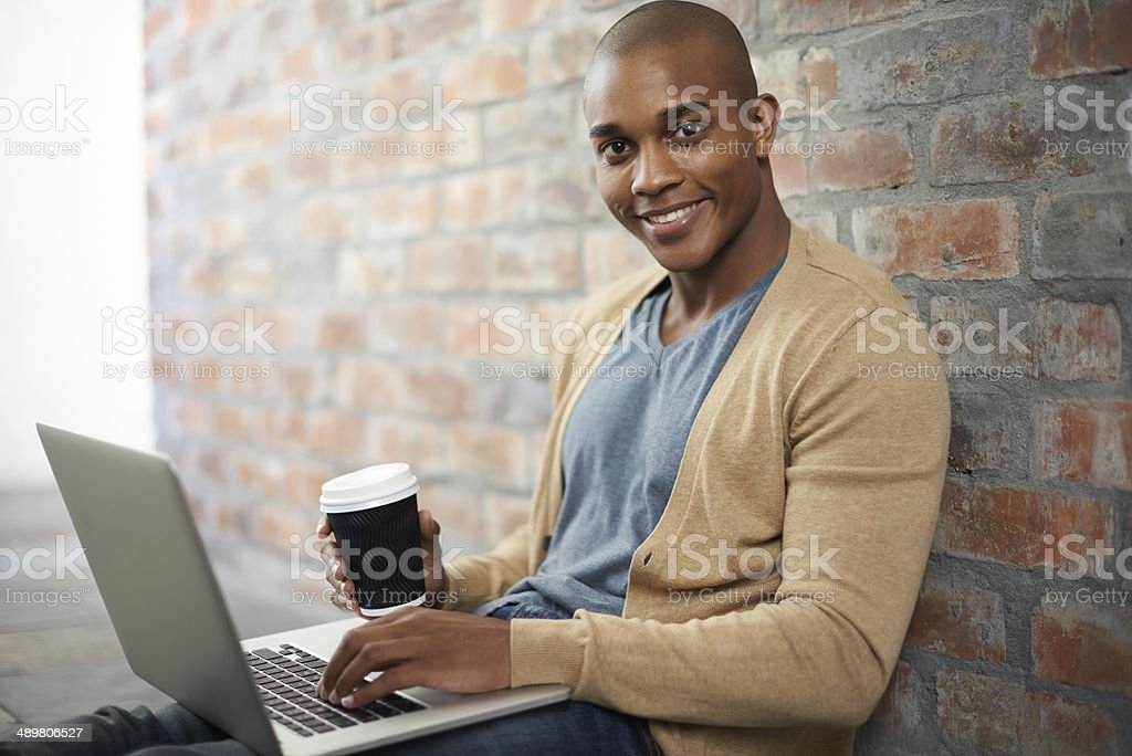 It's easy to work when you feel comfortable stock photo