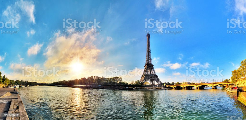 Seine Eiffel panorama stock photo