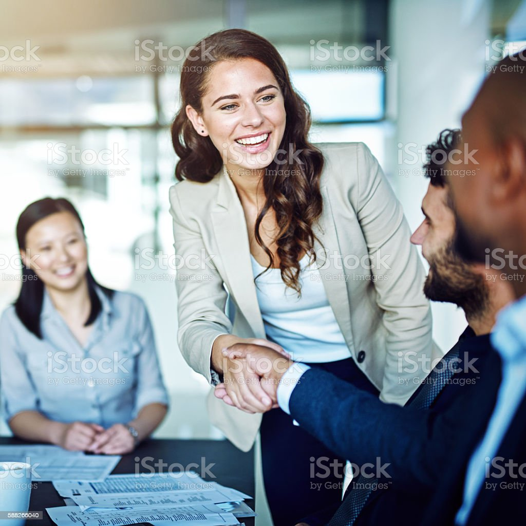 It's exciting to meet someone you've always looked up to stock photo