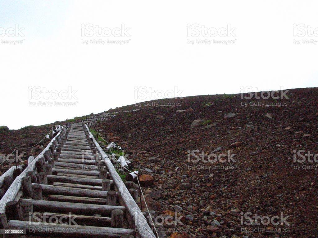 It's far to the mountain top! stock photo