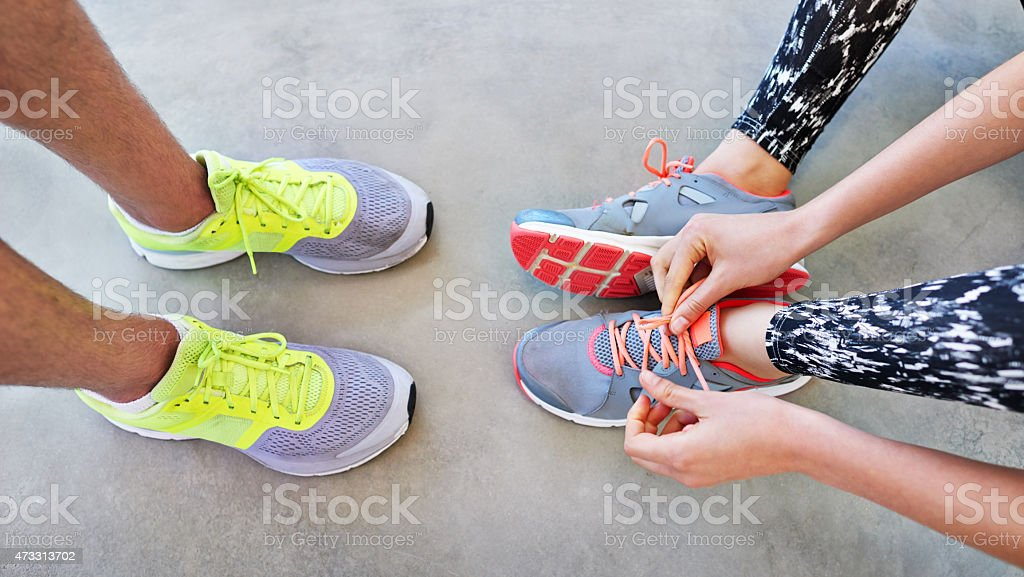 It's great having someone to exercise with stock photo