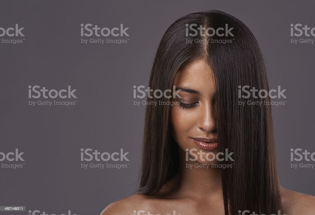 It's her crowning glory stock photo