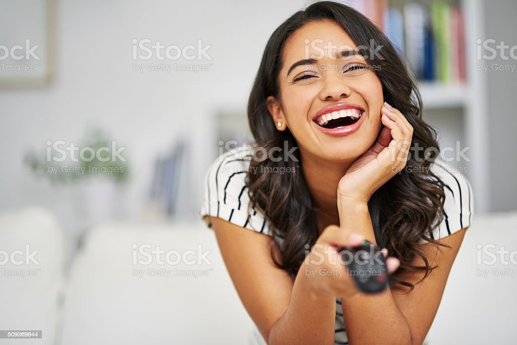 It's her favourite comedy stock photo