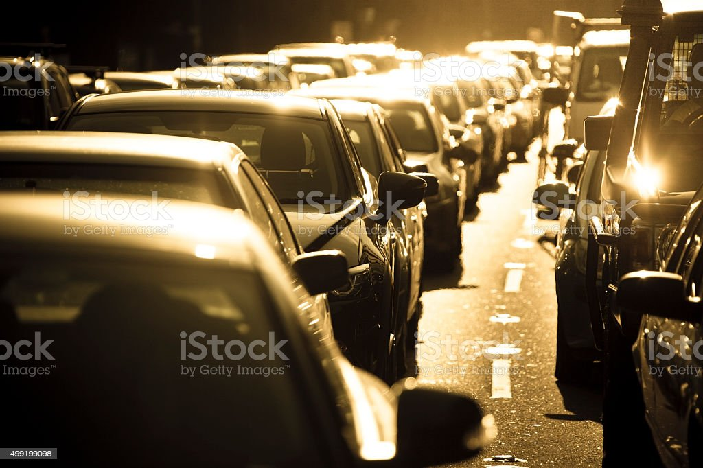 It's hot in a Sydney summer rush hour traffic jam stock photo