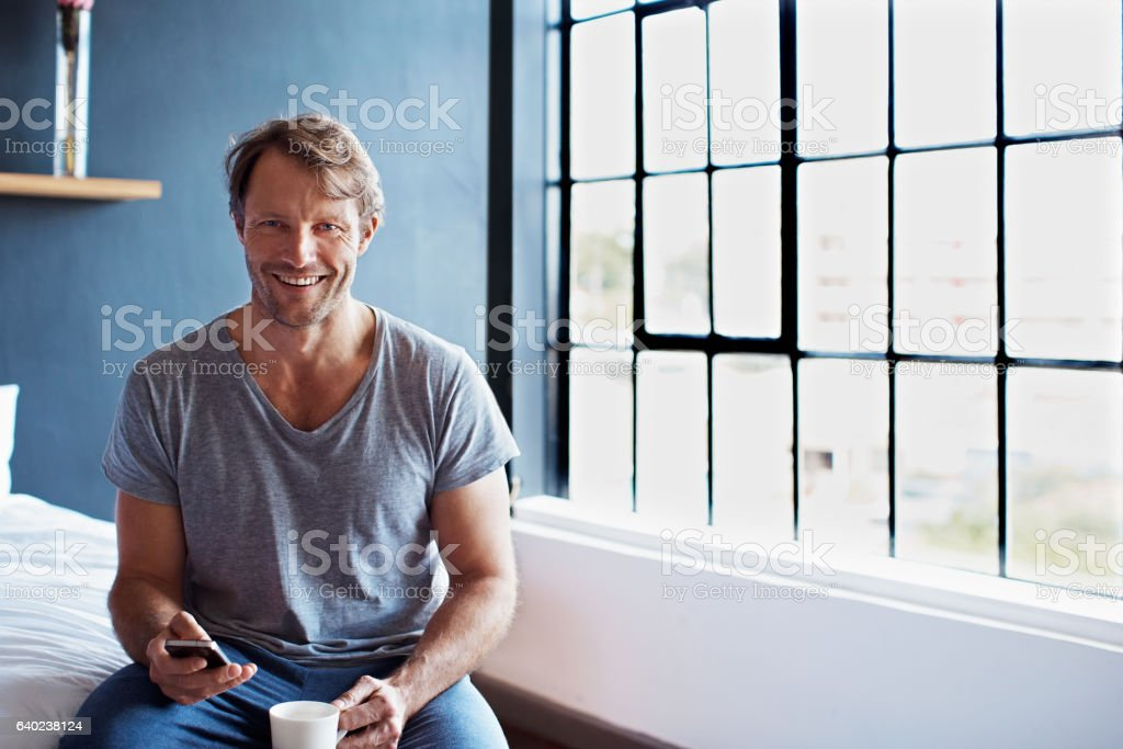 It's morning and I have calls to make! stock photo