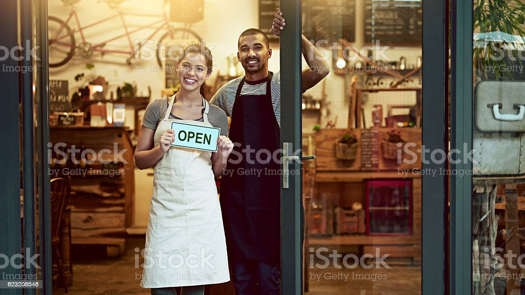 It's official! We're open for business stock photo