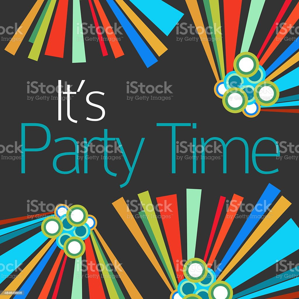 Its Party Time Text Dark Colorful Elements stock photo