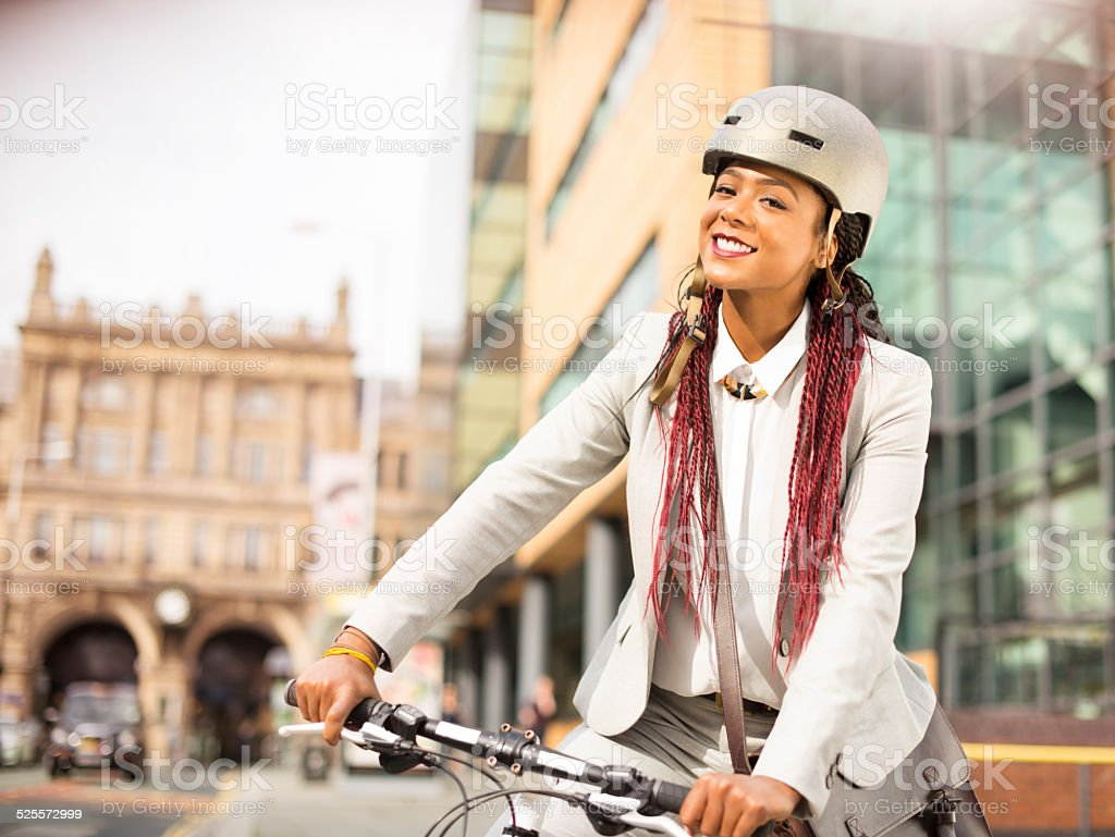 it's the healthy way to get to work stock photo