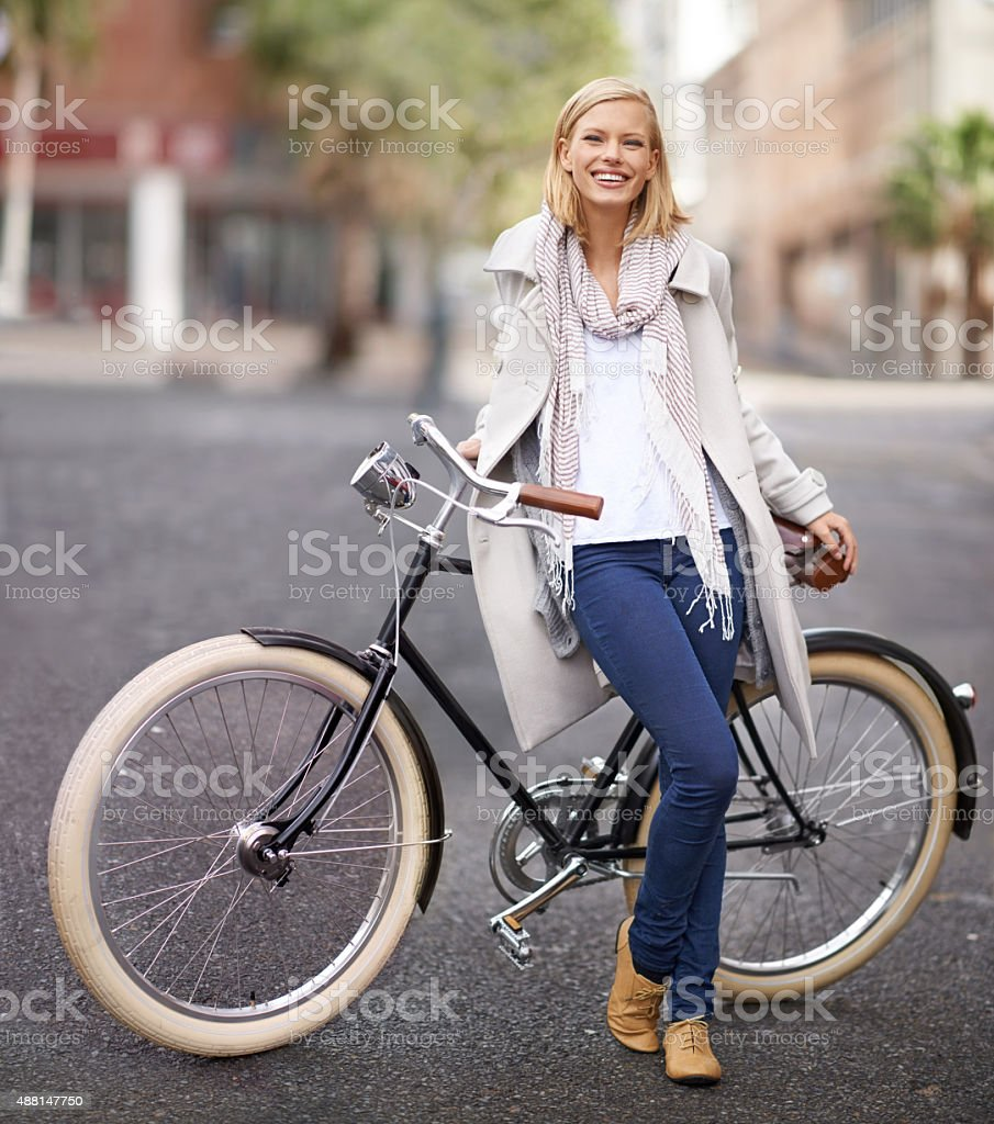 It's the only way to travel in the big city stock photo