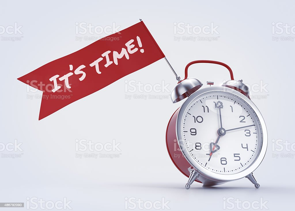 'It's Time!' Alarm Message stock photo