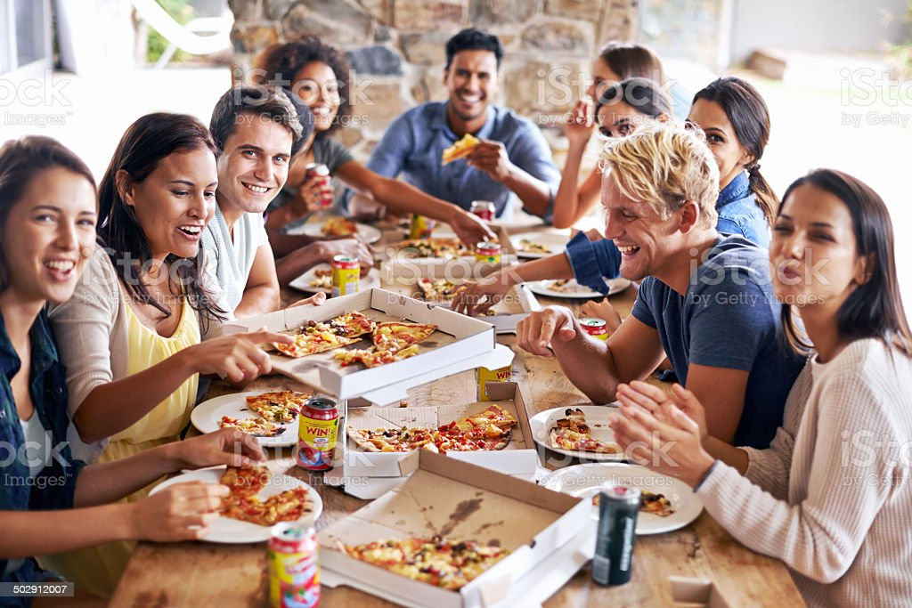 It's time for a pizza party! stock photo
