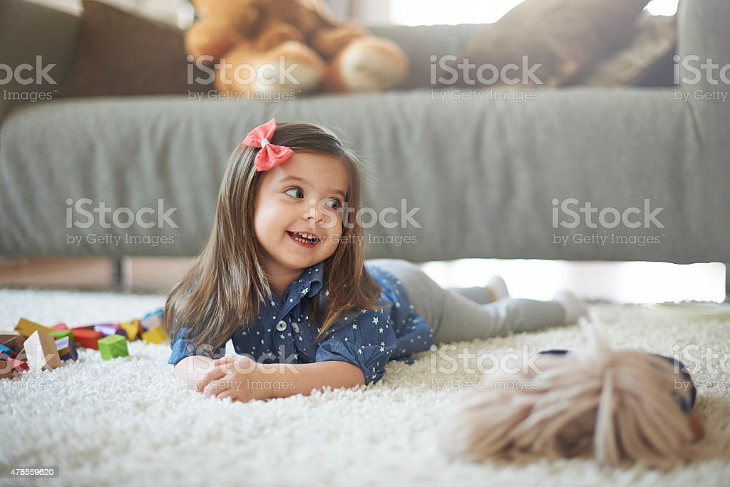 It's time for playing and I love it! stock photo