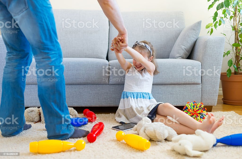 It's time to clean up your toys! stock photo