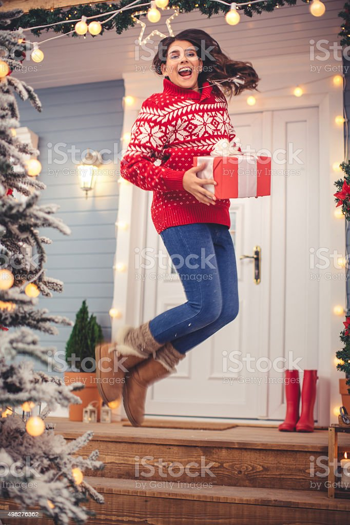It's time to open gifts. stock photo