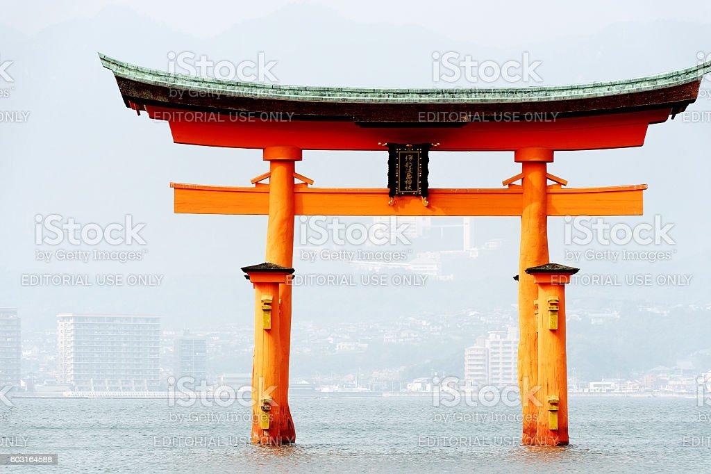 Itsukushima Shrine Torii Gate at high tide,Japan stock photo