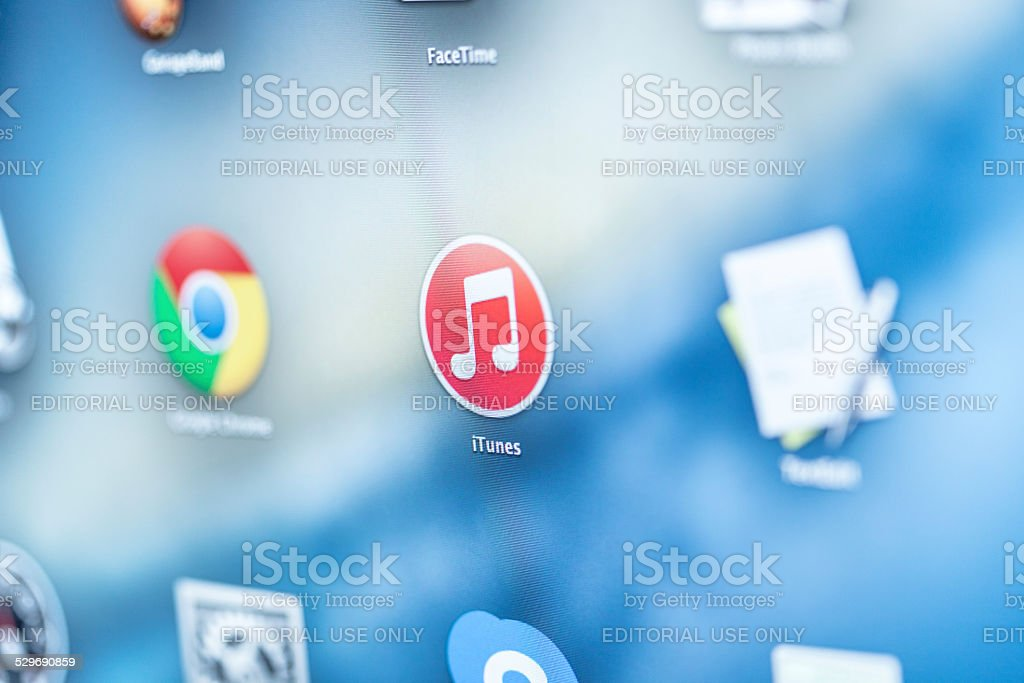 iTunes Icon on a screen stock photo