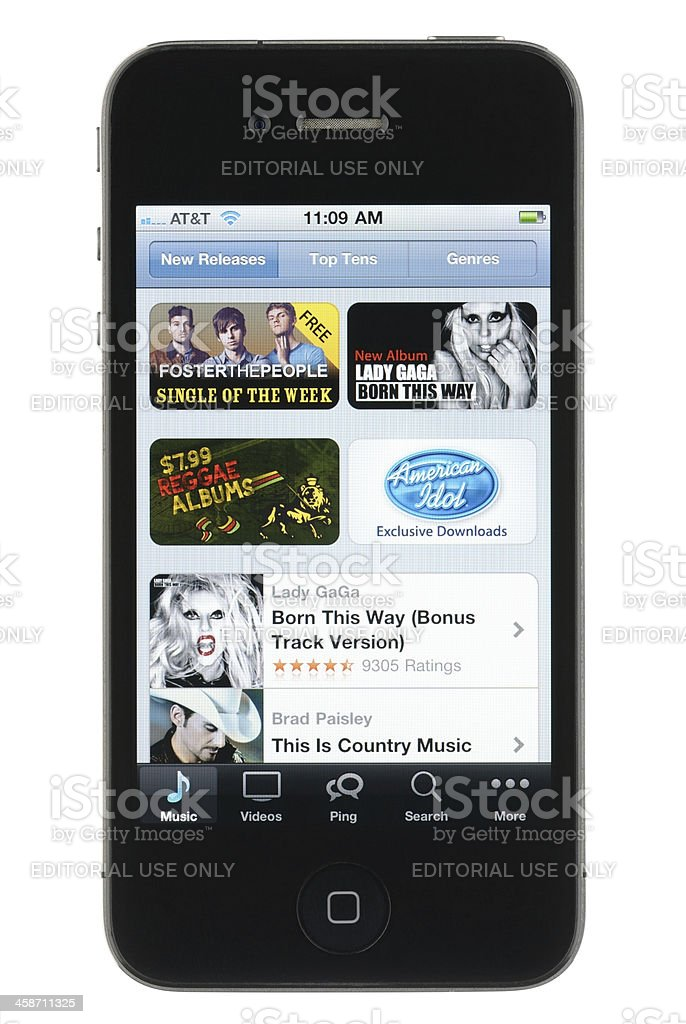 iTunes Store New Releases on the iPhone stock photo