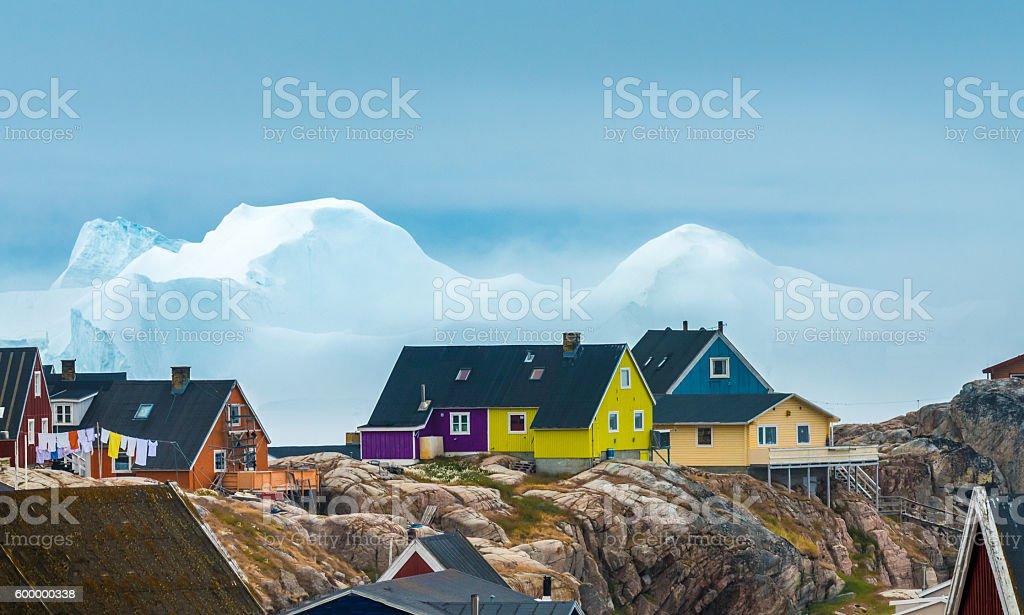 Iulissat, stranded icebergs, Greenland stock photo