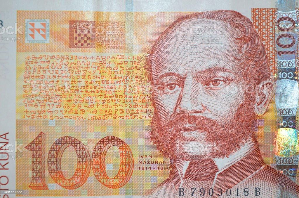 Ivan Mažuranic billete de banco de poeta kuna croata en foto de stock libre de derechos