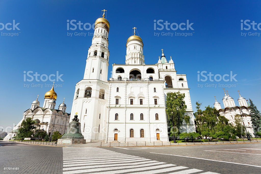 Ivan the Great Bell Tower near walkway stock photo
