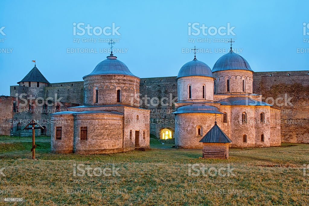 Ivangorod. Russia. Orthodox churches in the fortress stock photo
