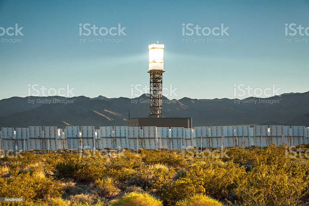 Ivanpah Solar Power Facility, Concentrated Solar Thermal Plant in California royalty-free stock photo