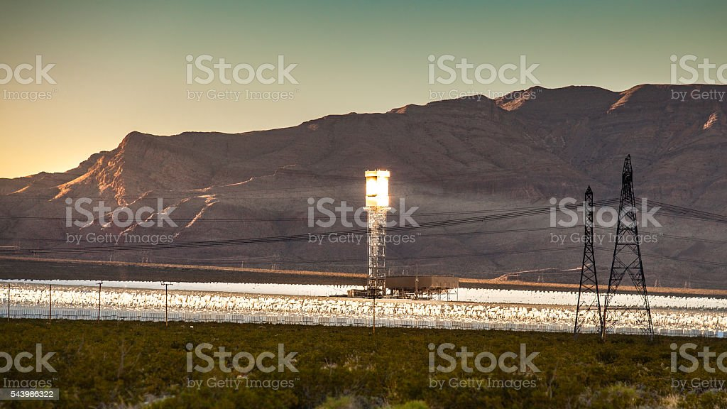 Ivanpah Solar Power Facility, Concentrated Solar Thermal Plant, California royalty-free stock photo