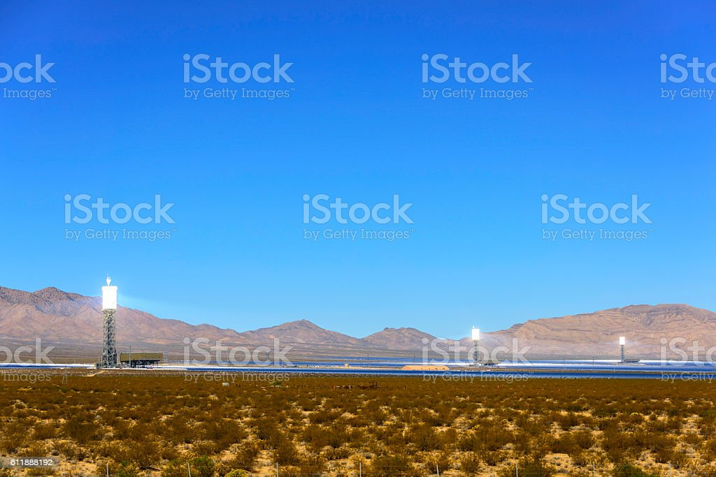 Ivanpah Solar Power Facility, Concentrated Solar Thermal Plant stock photo