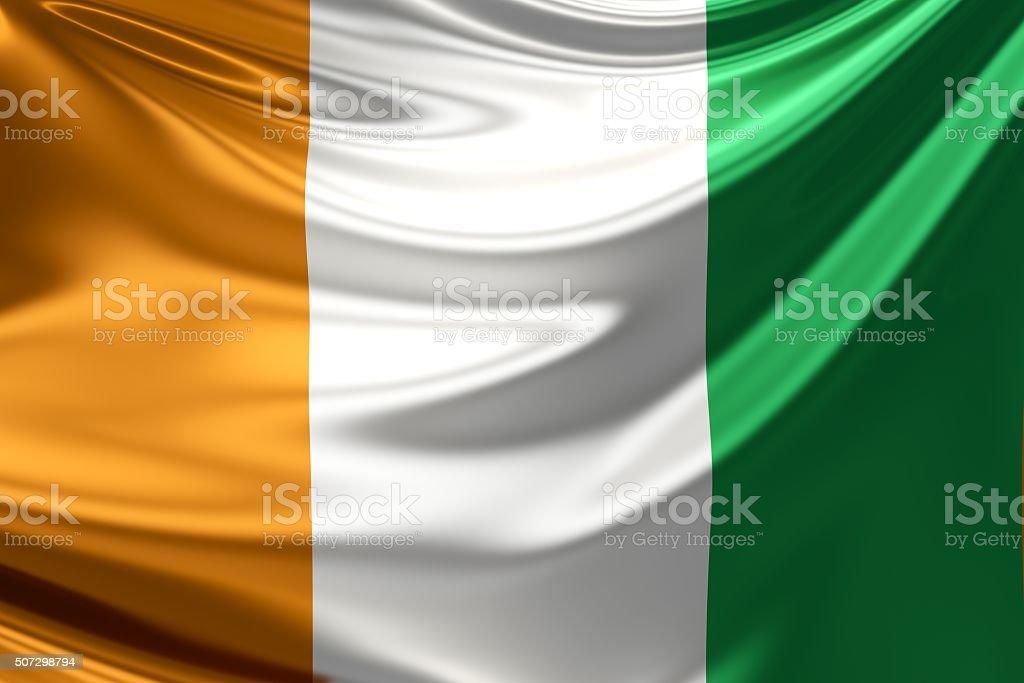 Ivory Coast Flag. 3d illustration stock photo