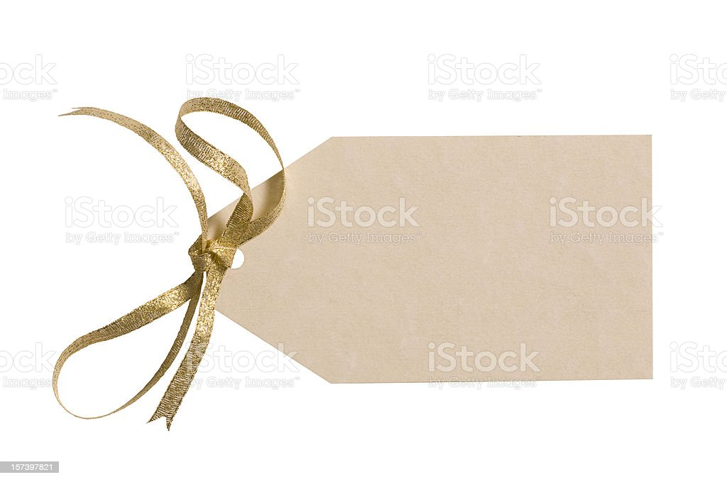 Ivory colored gift tag with gold bow & clipping path stock photo