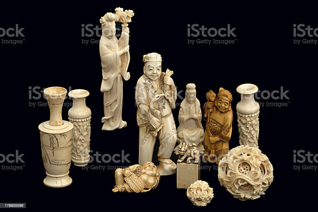Ivory figurine china japan stock photo