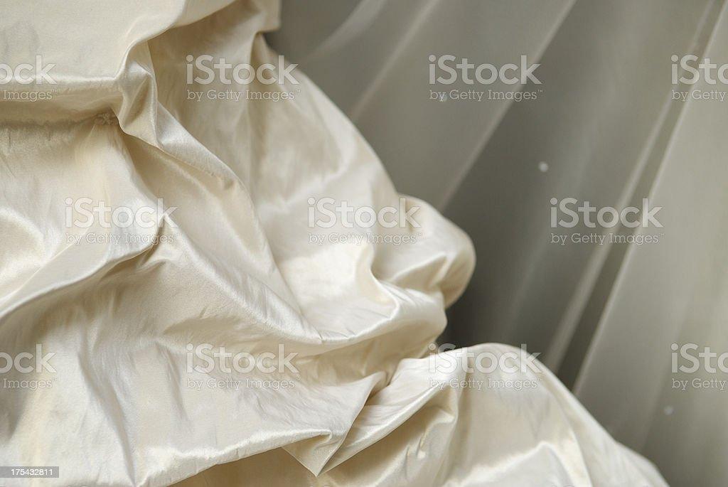 Ivory Silk Taffeta Wedding Dress Detail with Veil stock photo