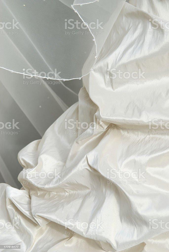 Ivory Taffeta Silk Wedding Dress Detail Close-Up stock photo