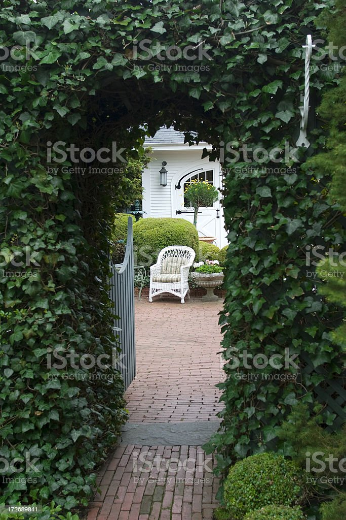 Ivy Arbor in Formal Garden, Pathway, Seating Area, New England royalty-free stock photo